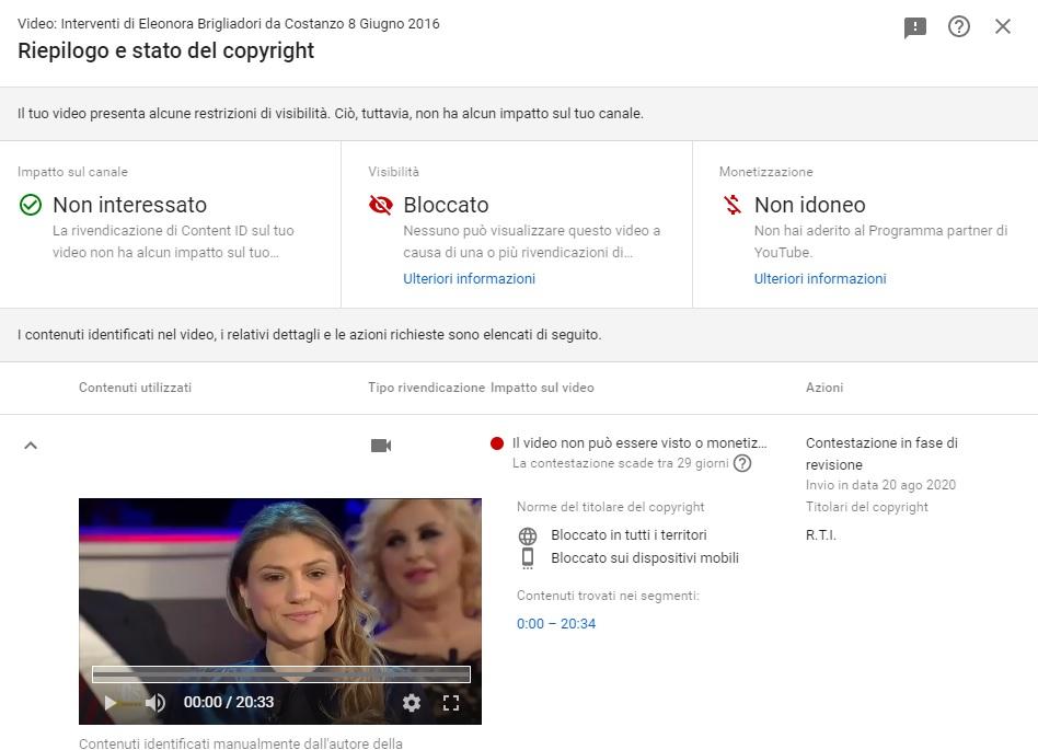 Eleonora Brigliadori - Disputa con RTI 2
